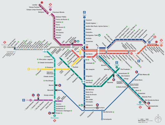 Mapa dos Trens e Metrô de SP. Imagem: Secretaria dos Transportes Metropolitanos