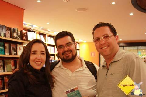 Mari Campos, do Pelo Mundo, Erik Pzado, do Jeguiando e Marcio Nel Cimatti, do A Janela Laranja. Imagem: Janaína Calaça.