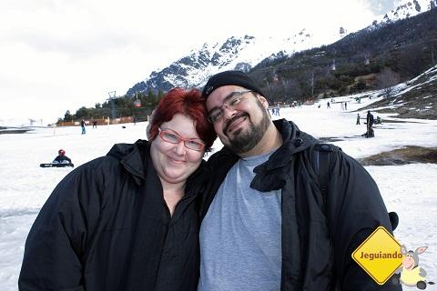 Eu, Janaína Calaça e Erik Pzado, jeguiando em Bariloche.
