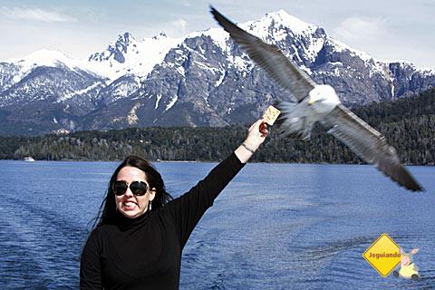 Mari Campos, do Pelo Mundo, visivelmente confortável com a gaivota bicando seu dedo! Imagem: Erik Pzado.