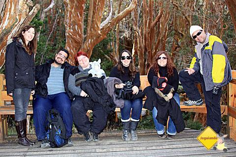 Erik, eu, Jegueton, Mari Campos, Andrea e Márcio. Pausa para foto. Bosque de Arrayanes.