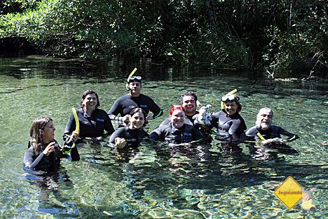 Grupo se prepara para dar início à flutuação no Rio da Prata, Bonito, Mato Grosso do Sul. Imagem: Tio Boca.