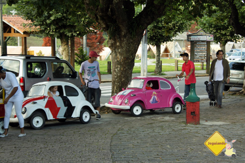 Fusquinhas e trenzinhos de brinquedo fazem a alegria dos pequenos! Imagem: Erik Pzado.