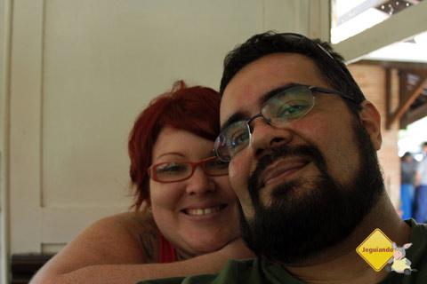 Jana Calaça e Erik Pzado no bondinho! Xis! Imagem: Erik Pzado.