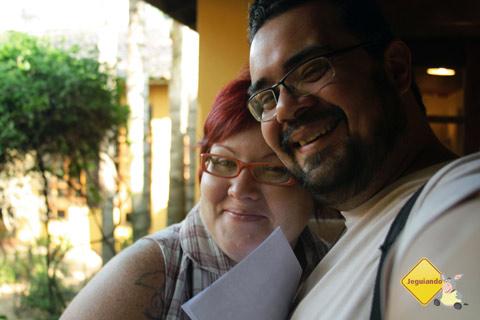 Jana Calaça e Erik Pzado, trupe do Jeguiando no Santa Clara Eco Resort, em Dourado, SP. Imagem: Erik Pzado.