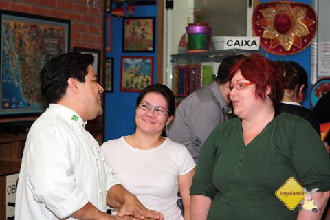 Arturo Herrera, Clara Miyagui e Janaína Calaça, papo no La Buena Onda. Imagem: Erik Pzado