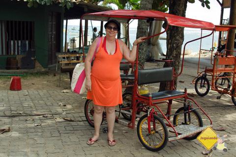 Mainha e os carrinhos de passeio. Praia do Forte, Litoral Norte da Bahia. Imagem: Erik Pzado