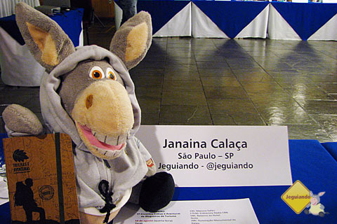 Jegueton e Janaína Calaça representam a trupe do Jeguiando no Blog Tur Foz. Imagem: Janaína Calaça