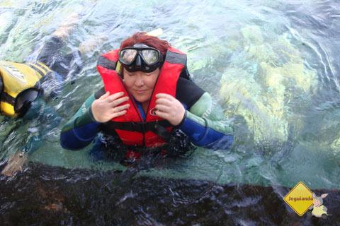 Dando início à flutuação no Rio Sucuri, Bonito, MS. Imagem: Erik Pzado