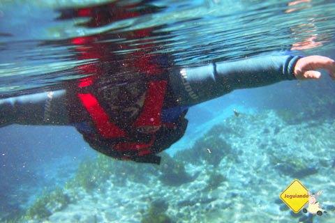 Erik durante a flutuação no Rio Sucuri, Bonito, MS. Imagem: Janaína Calaça