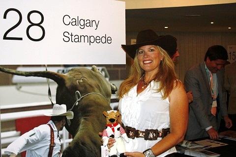 Lindsay, da delegação de Calgary Stampede. Em 2012, o famoso rodeio completará 100 anos de tradição. Imagem: Janaína Calaça