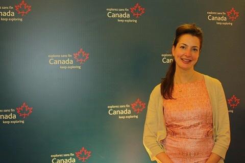 Siobhan Chretien, Diretora de Mercados Emergentes das Américas e da Ásia da CTC, reforçou a importância brasileira ao turismo canadense durante o Showcase Canadá-Brasil.. Imagem: Janaína Calaça