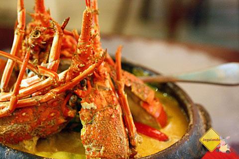 Trilogia baiana: lagosta, peixe e camarão. Dica de prato principal da chef Tereza Paim. Restaurante Terreiro Bahia, Praia do Forte, BA. Imagem: Janaína Calaça