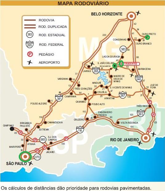 Mapa São Paulo - Minas Gerais. Fonte: http://www.tiradentesgerais.com.br/maparodoviario.pdf