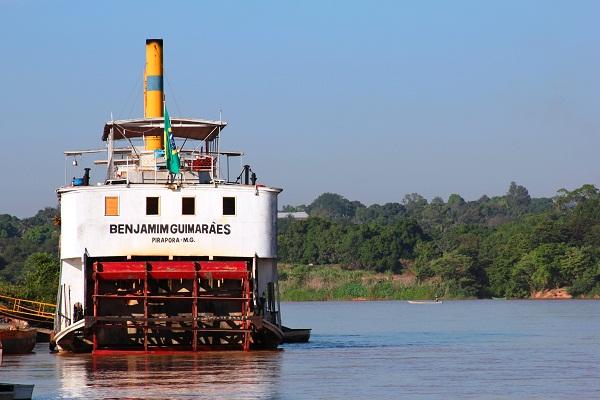Benjamim Guimarães, um dos últimos navios a vapor em funcionamento do mundo. Imagem: Janaína Calaça