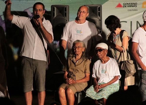 Helvécio, Inácio Neves, Bastu e Maria do Boi na estreia de Girimunho. Imagem: Janaína Calaça