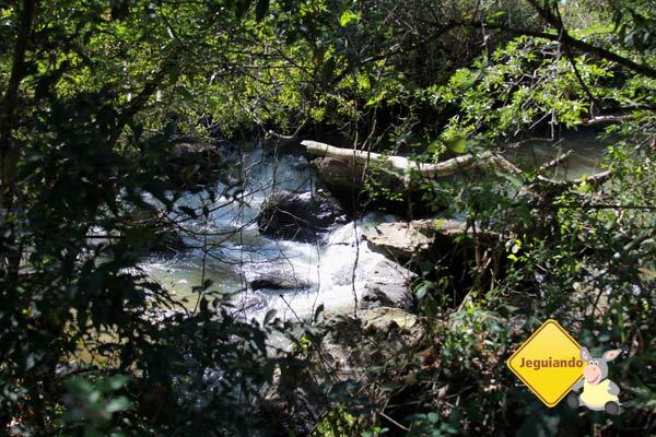A trilha margeia um rio e suas corredeiras. Imagem: Erik Pzado