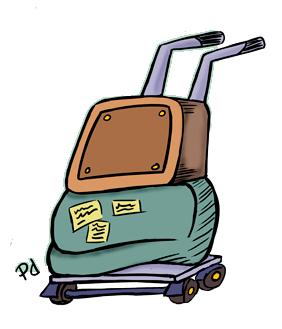 Malas do Jeguiando prontas para viajar. Ilustração: Paulo Duarte
