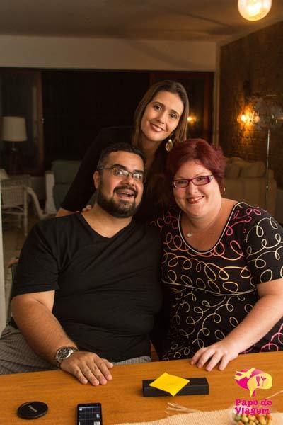 """Quem fez o """"Papo de Viagem"""" acontecer. Erik, Clarissa e Jana. Imagem: Jeguiando"""