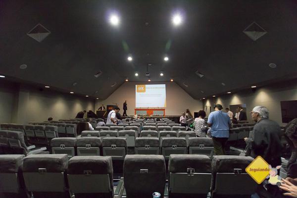 Auditório em Confins, reciclado do carpete às poltronas. Imagem: Erik Pzado