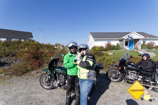 Keven, Jegueton e Vicki, do Bluenose Sidecar Tours. Imagem: Erik Araújo