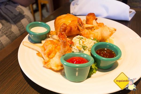 Fish & Chips, com camarão e haddock e scallops. Imagem: Erik Araújo
