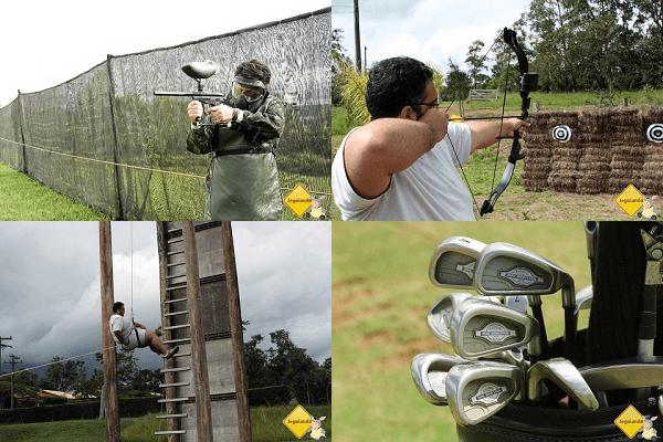 Paintball, arco e flecha, rapel e Golf - atividades que podem ser praticadas no Broa Golf Resort. Imagem: Erik Araújo