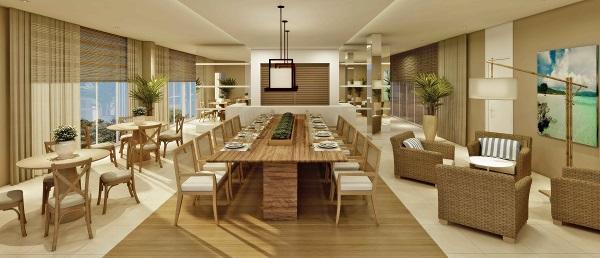 Espaço gourmet do In Mare Bali, novo empreendimento da Cyrela Plano & Plano. Imagem: Divulgação