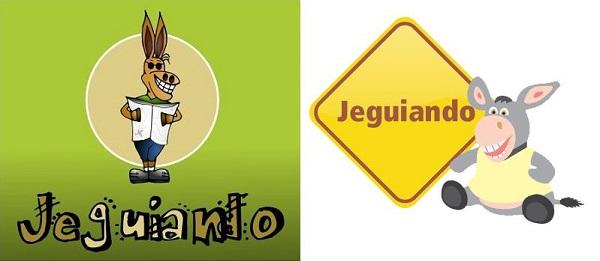 Da esq. para dir.: Primeiro logo do Jeguiando, desenhado por mim, Janaína Calaça; segundo logo do Jeguiando, desenhado por Marcelo Santos.