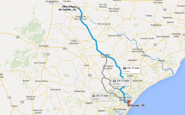 Rota de Aracaju (SE) para Olho D'água do Casado (AL)
