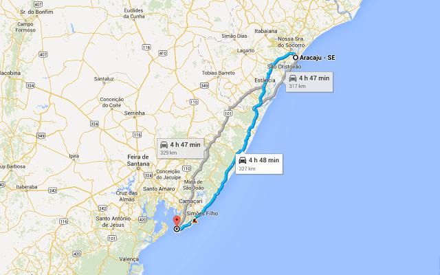 Nossa rota de Salvador para Aracaju.