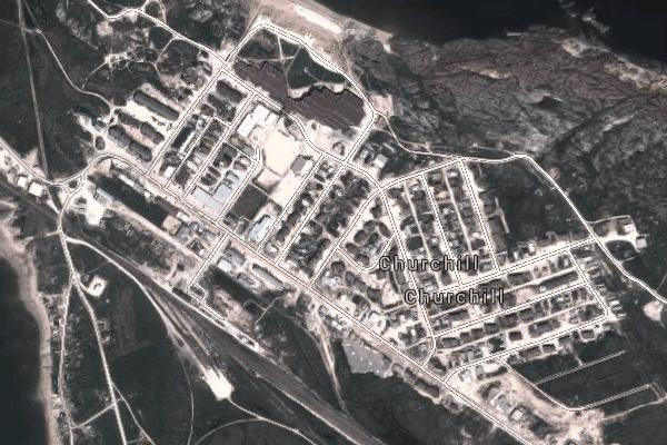 Imagem de Satélite Churchill, Manitoba. Imagem: Google Maps