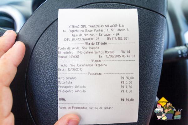 Preço da travessia. Imagem: Erik Araújo