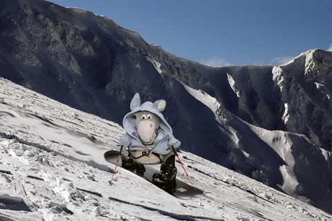 Jegueton esquiando. Imagem: Erik Pzado.
