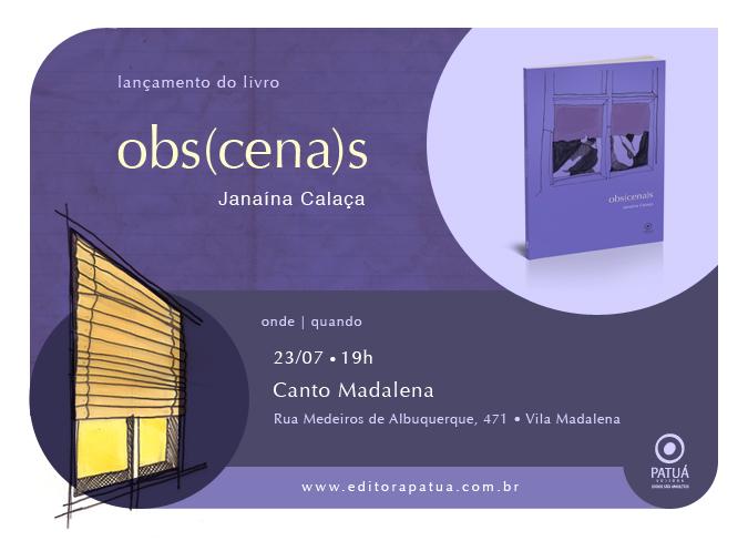 Lançamento do livro de contos Obs(cena)s de Janaína Calaça será dia 23/07, no Bar Canto Madalena.